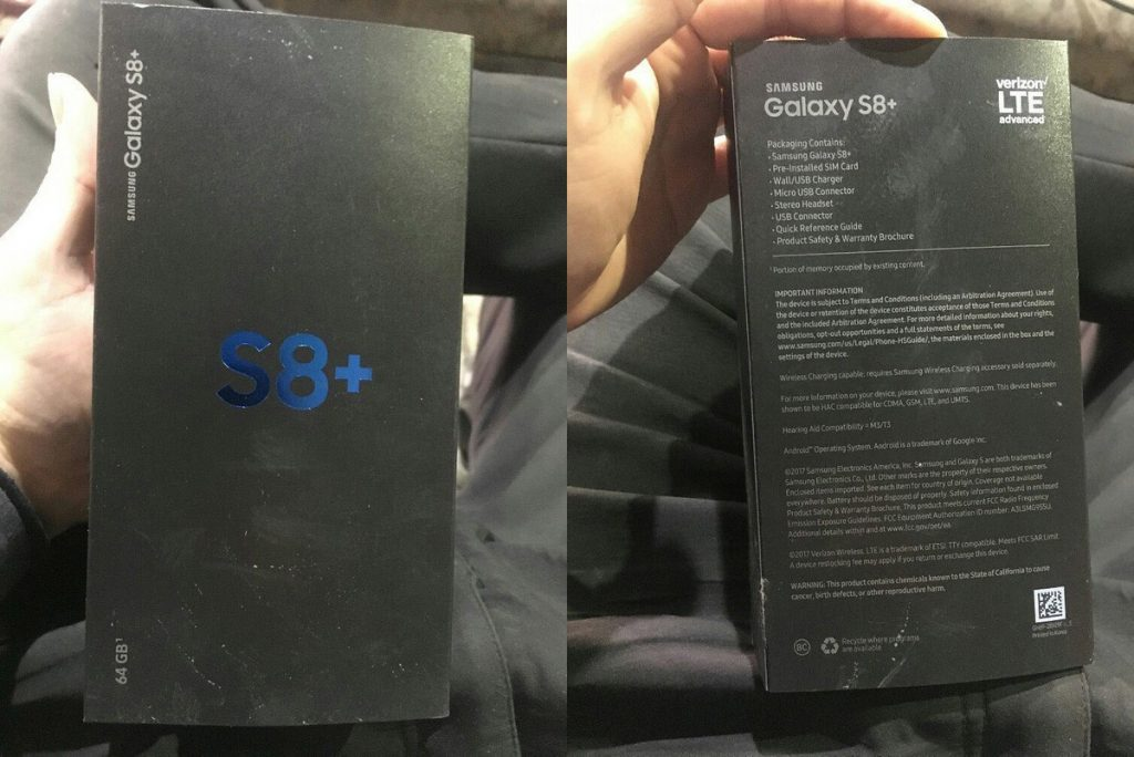 galaxy s8 plus box