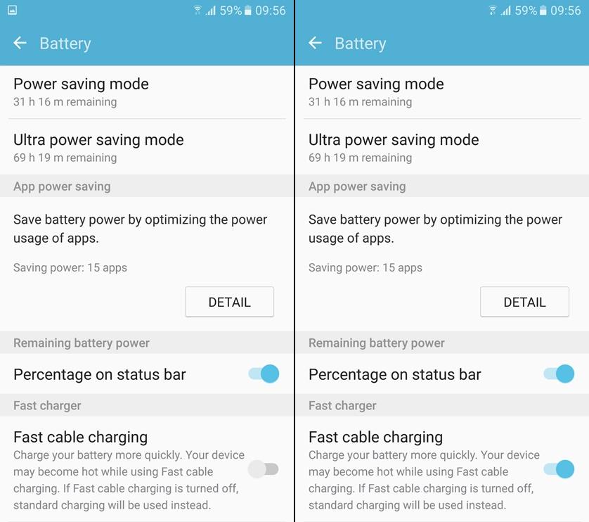 Samsung Fast Charging menu