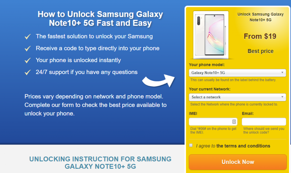 unlock  galaxy note10+ 5g
